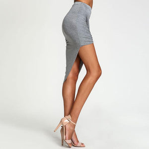 Casual Asymmetrical Hem Cross Draped Pencil Skirt