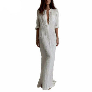 Deep V Neck Linen Maxi Dress