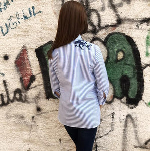 Summer/Autumn Vintage Floral Embroidery Striped Long Sleeve Blouse