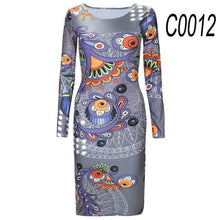 Round Neck Floral Long Sleeve Bodycon Dress