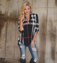 V Neck Plaid Print Long Sleeve Blouse
