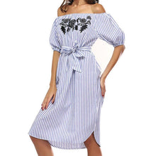 Summer Off Shoulder Striped Floral Dress