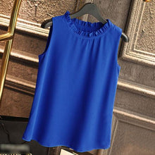 Summer Casual Solid Color Sleeveless Chiffon Blouse