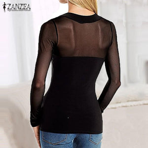 Autumn Sexy Long Sleeve Cut Out Blouse