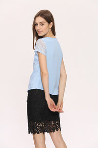 Summer Office/Casual Lace Chiffon Short Sleeve Blouse