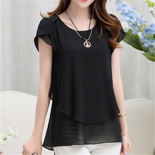 Summer Casual/Office O-Neck Short Sleeve Plus Sized Chiffon Blouse