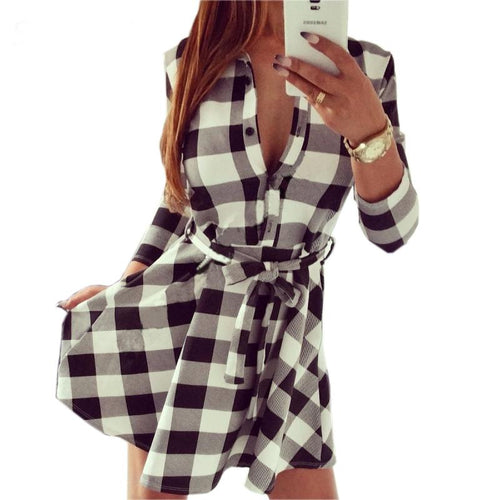 Chloe Check Print Long Sleeve Dress