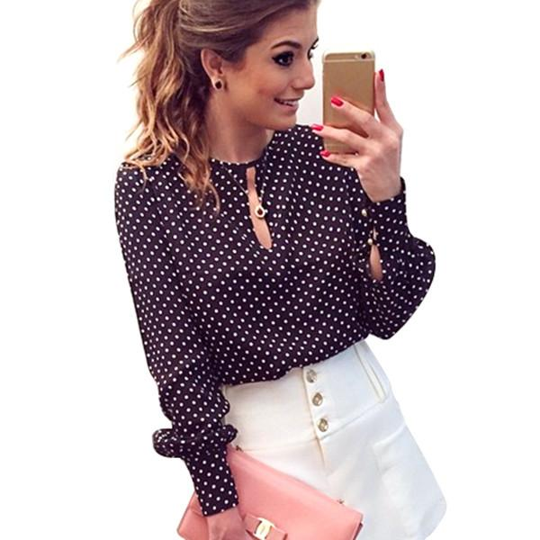 Summer/Autumn Polka Dots Long Sleeve Slit Open Chiffon Blouse