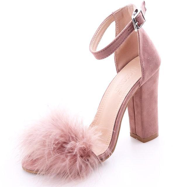 Fabien Faux Feather Sandal