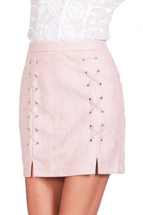 Lace up leather suede pencil high waist skirt