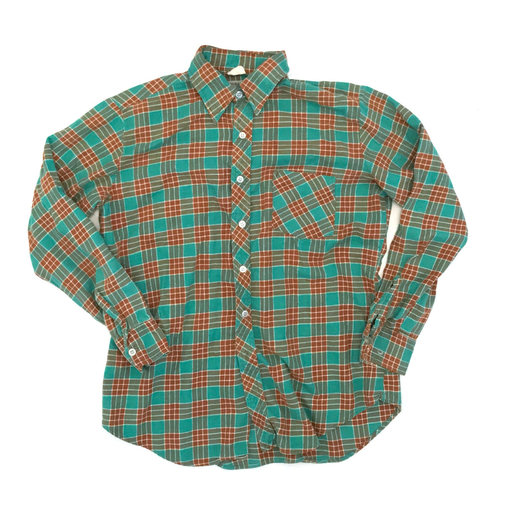 Vintage Mint Green + Brown Check Flannel