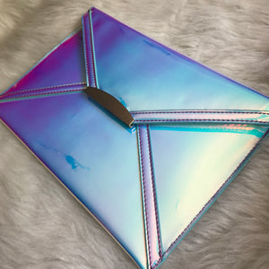 Iridescent Envelope Clutch - Blue