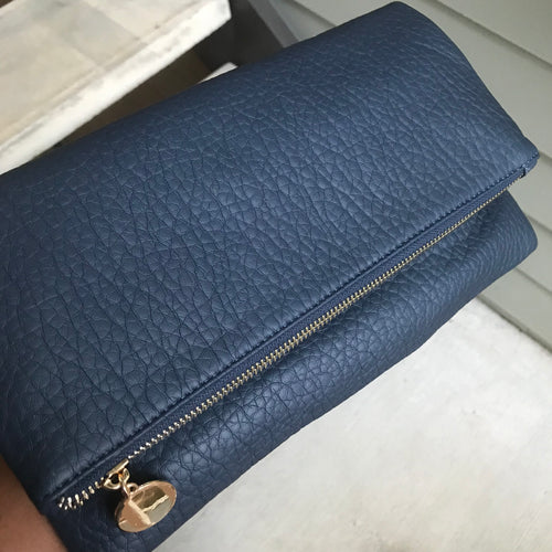 Coco - Navy Blue Faux Leather Clutch