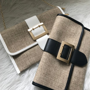 Peria - Woven Straw Buckle Clutch White