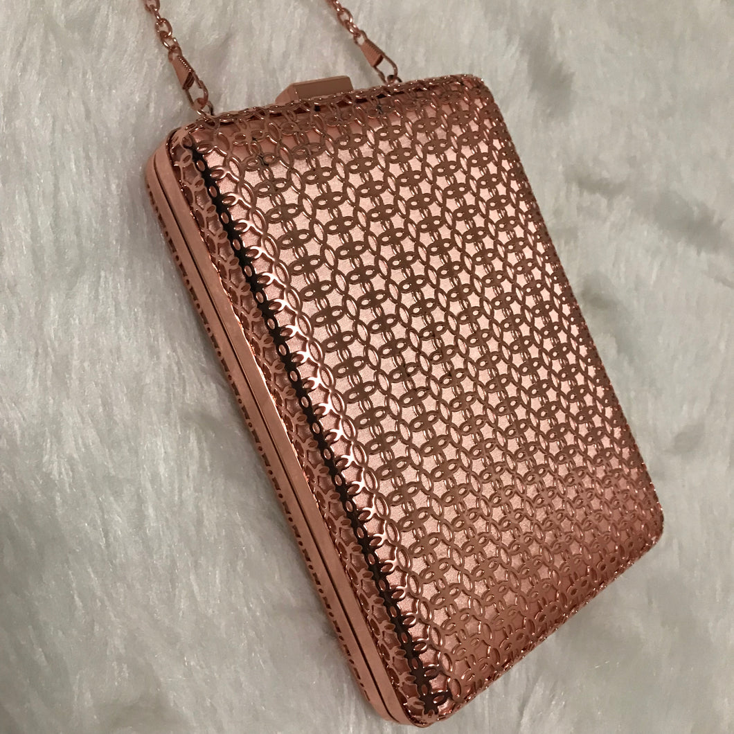Nadia - Metallic Lasercut Hardcase Clutch - Rose Gold