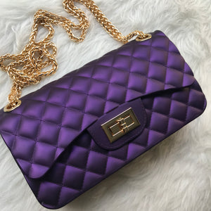 Quilted Jelly Handbag - Purple
