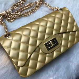Quilted Jelly Handbag - Mustard