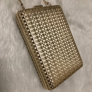 Nadia - Metallic Lasercut Hardcase Clutch - Gold