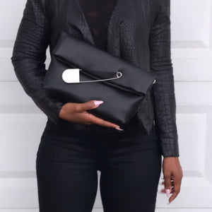 Safety Pin Clutch - Black