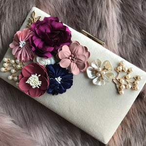 Pearl-Floral Hardcase Clutch - Beige