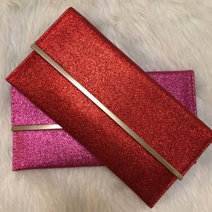 Gigi Glitter Clutch - Red