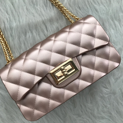 Quilted Jelly Mini Handbag - Pearlized Pink
