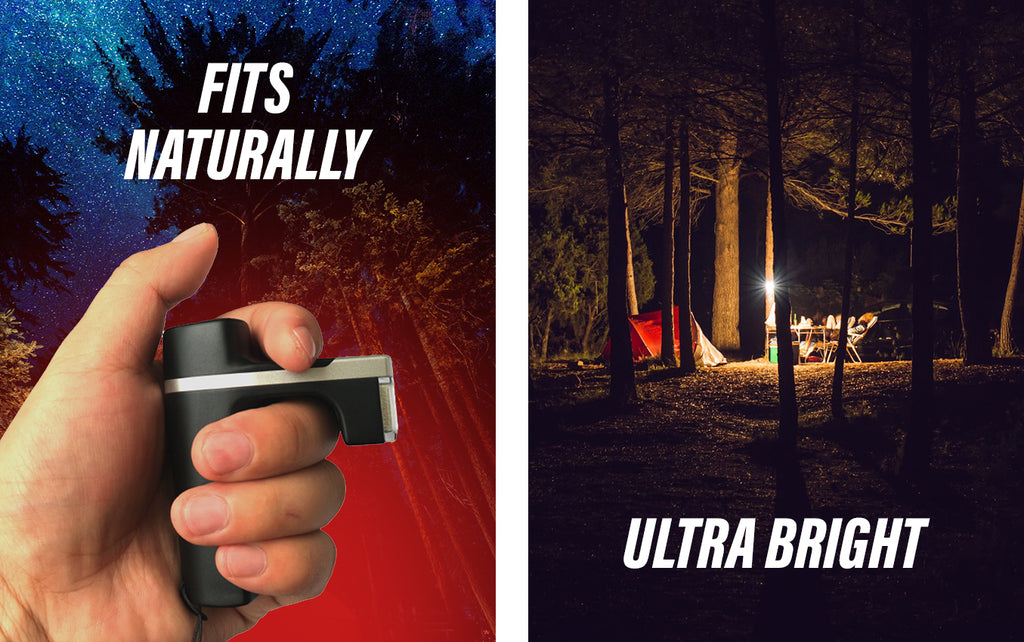 Knuckle Lights ONE fit naturally in your hand and are ultra bright