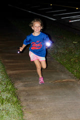 Running at night with lights