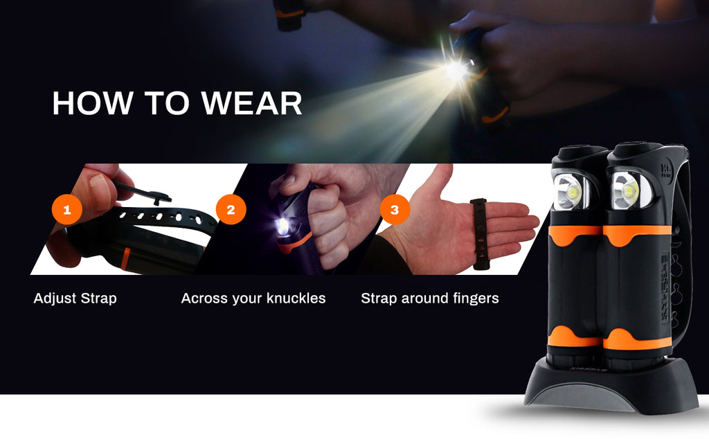 Knuckle Lights advanced are easy to wear and fit any size hands