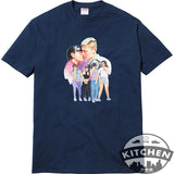Supreme Kiss Tee - Bright Orange & Light Pink & Navy
