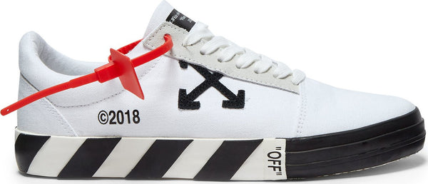 OFF-WHITE Men's Vulc Leather-Trim Low-Top Sneaker with Striped Sole - WHITE