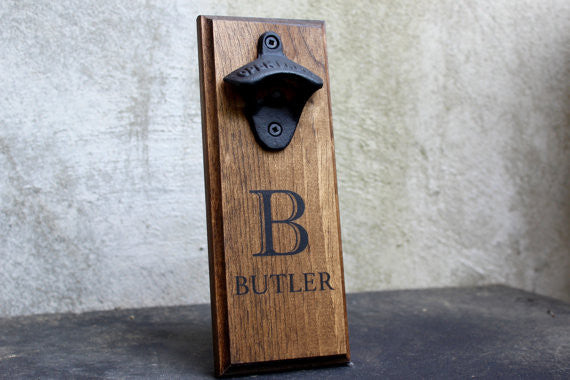 Personalized Wall Mounted Bottle Opener with Family Name