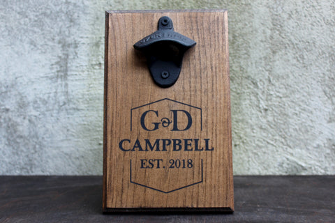 Wedding or Engagement Gift Personalized Wall Mounted Bottle Opener