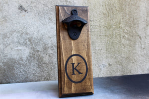 Personalized Wall Mounted Bottle Opener with Initial