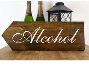 Alcohol This Way Rustic Wedding Sign, Wedding Ceremony This Way, Ceremony Direction Sign, Rustic Wedding Decor