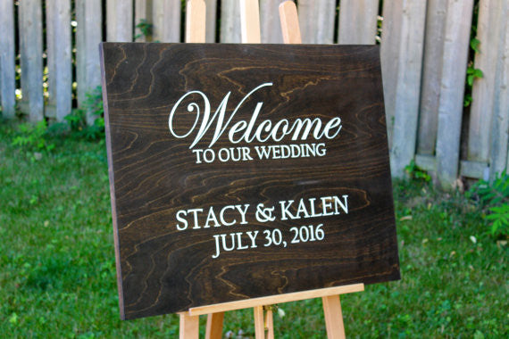 Custom welcome to our wedding sign coal and oak custom welcome to our wedding sign junglespirit Image collections