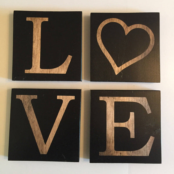 Wood Love Sign, Love Decor, Wedding Decor, Matte Black - Mothers Day Gift, Gift for Mom, Gift for Sister