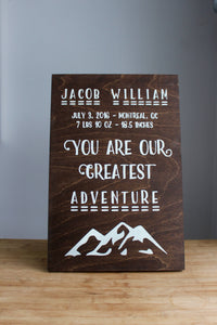 You Are Our Greatest Adventure Personalized Newborn Baby Nursery Decor, Baby Shower Gift