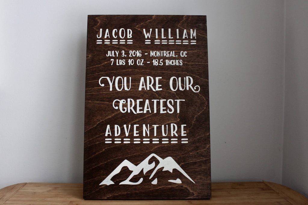 You are our greatest adventure personalized newborn baby nursery you are our greatest adventure personalized newborn baby nursery decor baby shower gift negle Images