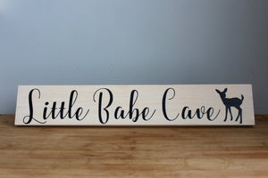 Little Babe Cave Newborn Baby Nursery Decor, Sign with Fawn, Baby Shower Gift (Small)