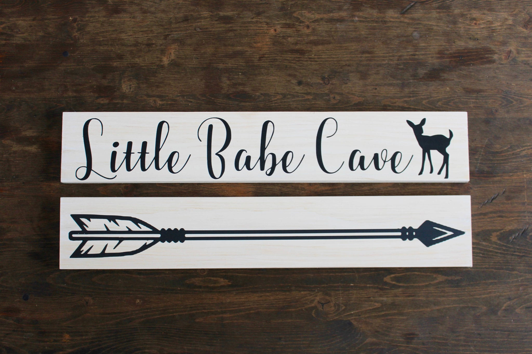 Little Babe Cave Sign  + Arrow Bundle, Personalized Baby Nursery Decor, Woodland Nursery Sign, Baby Girl Nursery, Baby Shower Gift