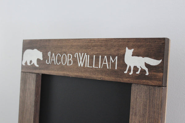 Rustic Woodland Name Sign Chalkboard, Personalized Nursery / Children's Room Decor, Little Bear, Little Fox, Baby Shower Gift