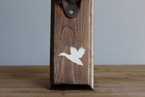 Duck Wildlife Wall Mount Rustic Bottle Opener, Matte White