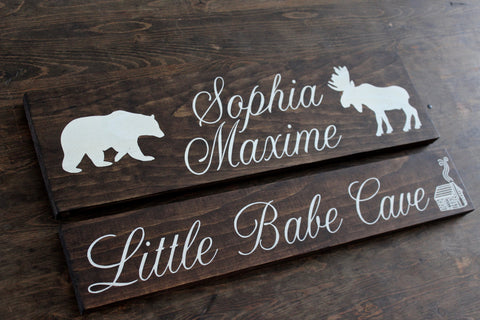 Woodland Nursery Name Sign  + Little Babe Cave Bundle, Personalized Baby Nursery Decor, Woodland Nursery Sign, Baby Shower Gift