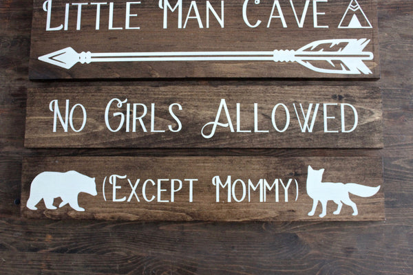 Nursery Little Man Cave Sign + No Girls Allowed + Except Mommy Bundle, Personalized Nursery Decor, Woodland Nursery, Baby Shower Gift