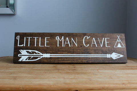 Little Man Cave Newborn Baby Nursery Decor, Sign with Arrow, Baby Shower Gift