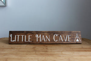 Little Man Cave Newborn Baby Nursery Decor, Sign with Arrow, Baby Shower Gift (Small)