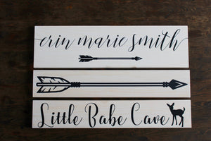 Nursery Name Sign + Arrow + Little Babe Cave Bundle, Personalized Newborn Baby Nursery Decor, Woodland Nursery Sign, Baby Shower Gift