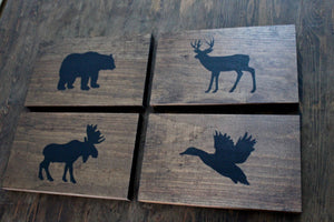 Rustic Forest Animal Wood Wall Decor Sign, Woodland Animals, Nursery Decor, Set of 4