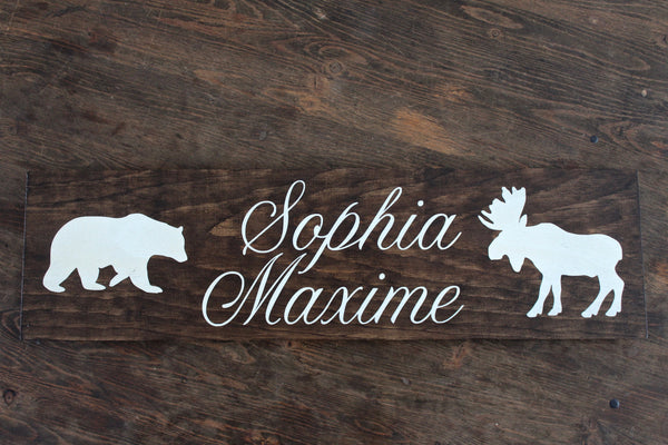 Woodland Nursery Name Sign, Personalized Newborn Baby Nursery Decor, Little Bear, Little Moose, Baby Shower Gift